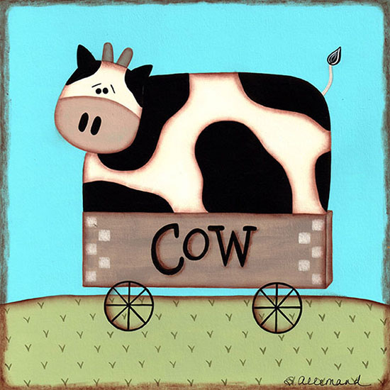 art prints - Cow In a Cart by Sue Allemand