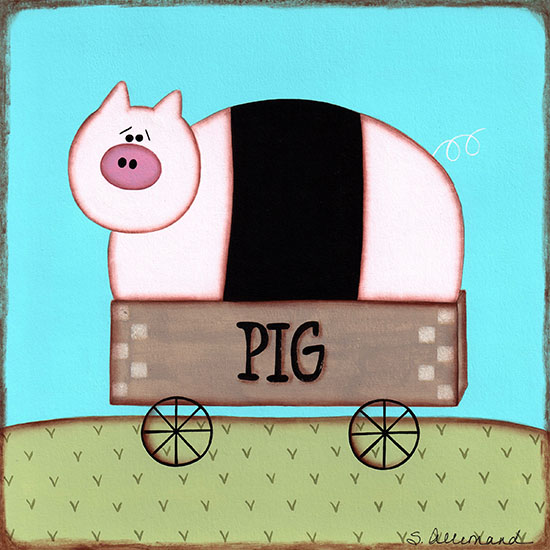 art prints - Pig In a Cart by Sue Allemand