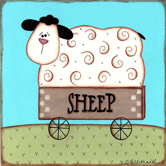 art prints - Sheep In a Cart by Sue Allemand