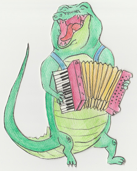 art prints - A is for Alligator on Accordion by Lia-Lucine Cary