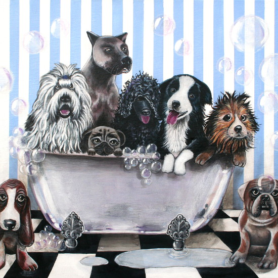 art prints - DOG BATH by Selinah Bull