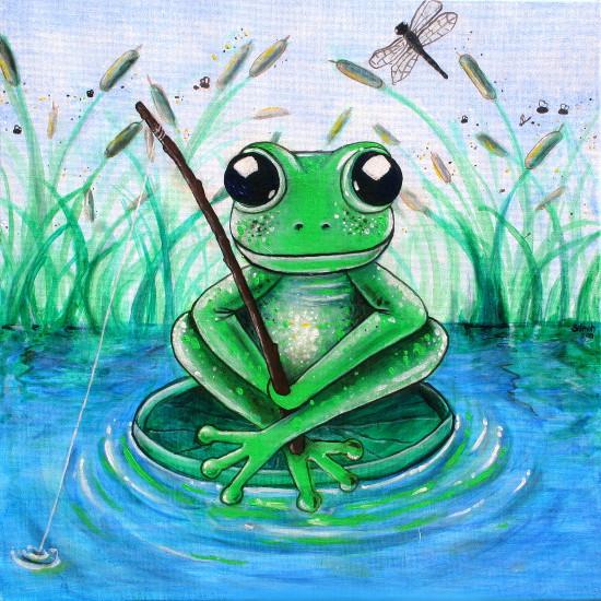 art prints - LITTLE FISHING FROG by Selinah Bull