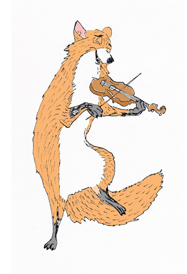 art prints - F is for Fox on Fiddle by Lia-Lucine Cary