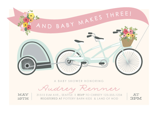 baby shower invitations - Bicycle Built for Three by Itsy Belle Studio