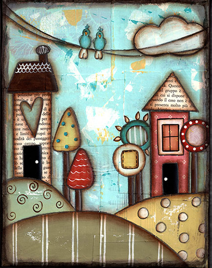 art prints - Happy Little Houses by Sue Allemand