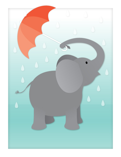 art prints - Rainy Day Elephant by Little Bees Graphics
