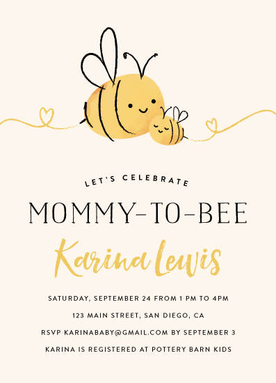 baby shower invitations - Mommy-to-Bee by Chryssi Tsoupanarias
