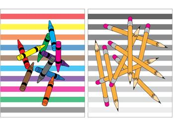 crayons and pencils diptych