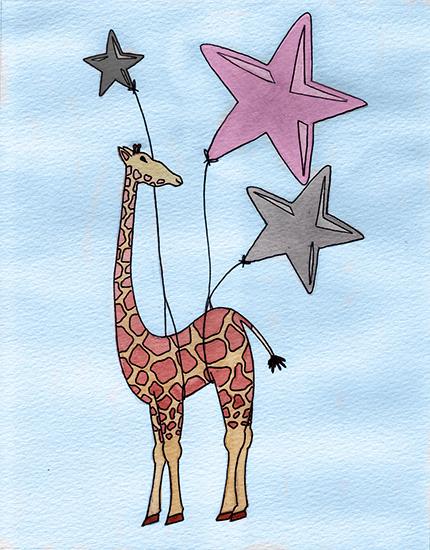 art prints - Reach For The Stars Giraffe by Lauren Haule