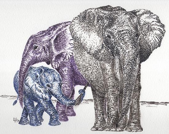 art prints - Elephant Family by Lauren Haule
