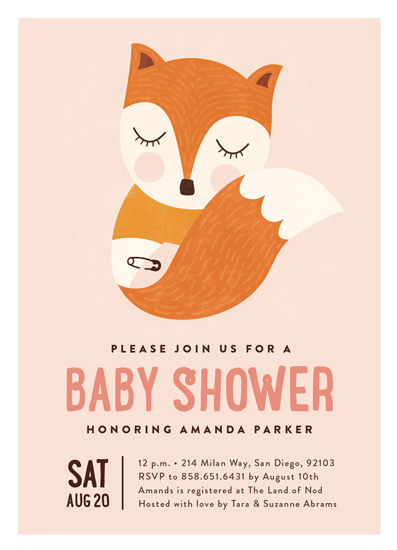 baby shower invitations - Sleepy Fox by Erica Krystek