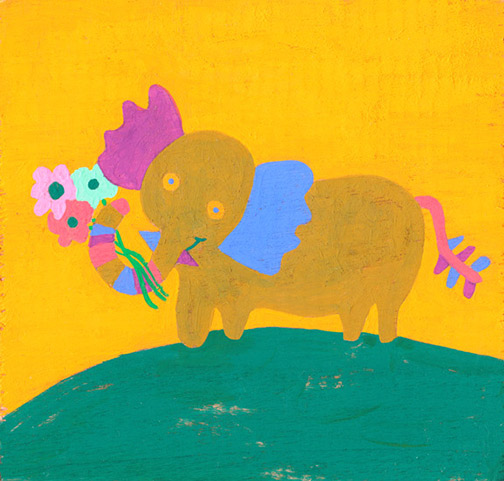 art prints - Elephant Bouquet by Julz Nally
