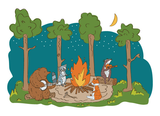 art prints - Around the Campfire by Lisa Weber