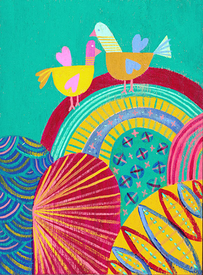 art prints - Birds over the Rainbow by Julz Nally