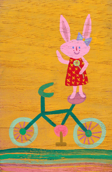 art prints - Bunny on a Bike by Julz Nally