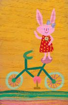 Bunny on a Bike by Julz Nally