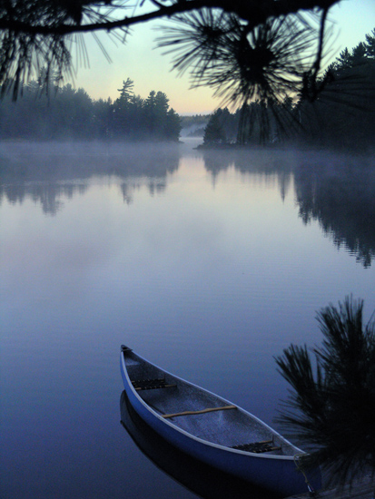 art prints - Misty Blue Canoe by Madeleine