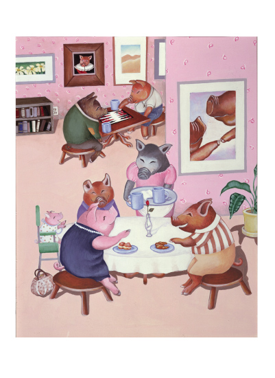art prints - Piggie Cafe by Elaine Strocher