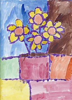 Mondrian Flowers in Vase