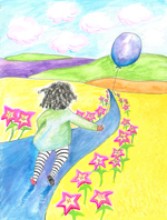 art prints - Skipping with glowing star flowers by Beth Scanlon