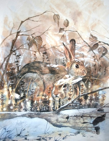 art prints - Warm Bunny Cuddles by Noelle