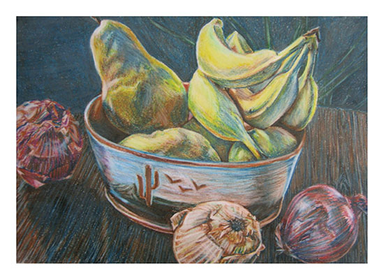 art prints - Bowl of fruit and onions by Mandy Wilson