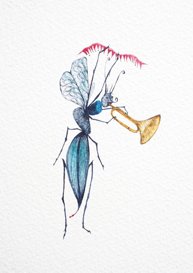 art prints - Bugle Playing Bug by Nina Lewis
