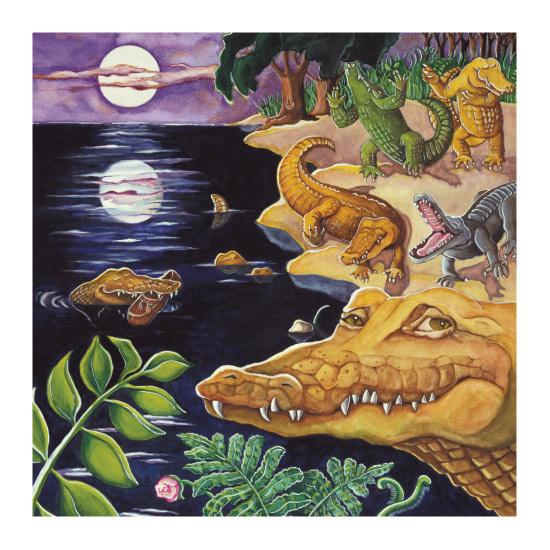 art prints - Crocodiles in Moonlight by Elaine Strocher