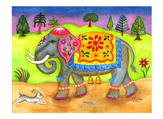 art prints - Decorated Elephant by Elaine Strocher