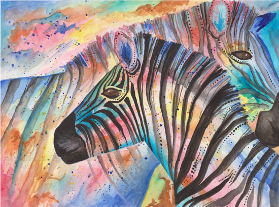 art prints - Two Zebras Embrace by Meg Smiley
