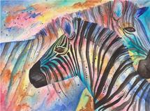 Two Zebras Embrace by Meg Smiley