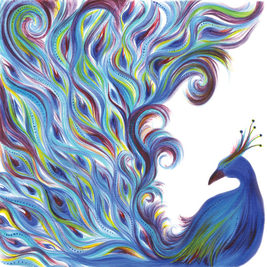 art prints - Whimsical Peacock by Meg Smiley