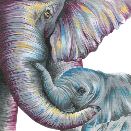 art prints - Mama and Baby Elephant by Meg Smiley
