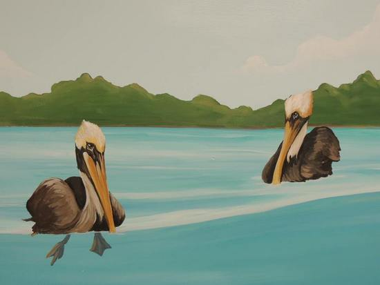 art prints - Floating Pelicans by Andi Barbuto