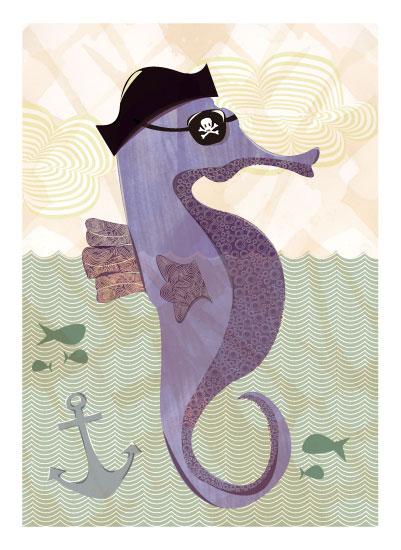 art prints - Seahorse Pirate by Amanda Staniszewski