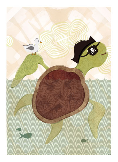 art prints - Sea Turtle Pirate by Amanda Staniszewski