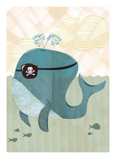 art prints - Whale Pirate by Amanda Staniszewski