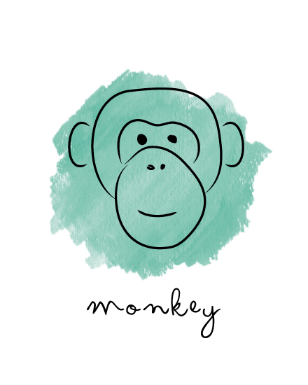 art prints - monkey doodle by Thoroughly Curly Designs