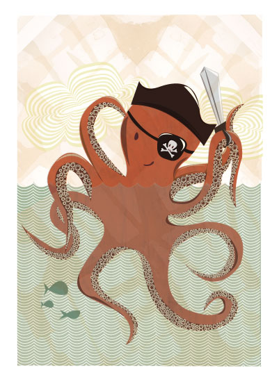 art prints - Octopus Pirate by Amanda Staniszewski