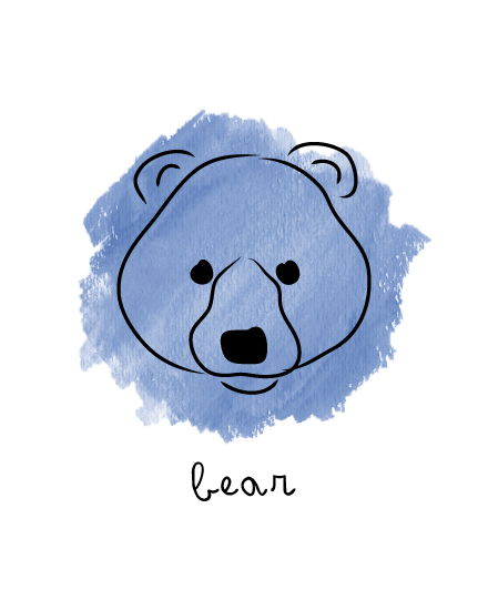 art prints - bear doodle by Thoroughly Curly Designs