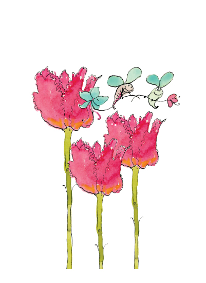 art prints - tulips and the bees by Glendale Girls Stationery and Design