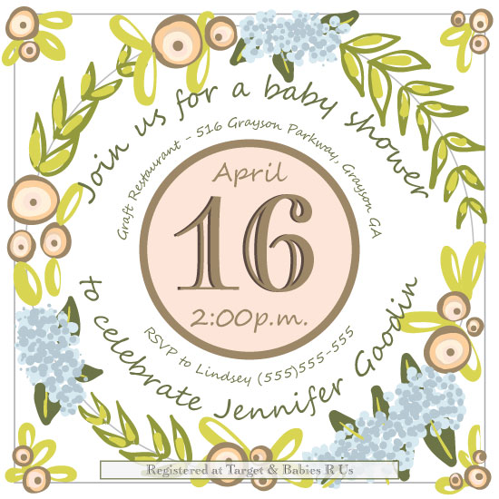 baby shower invitations - Wreath Shower Invitation by Lindsey Hohman