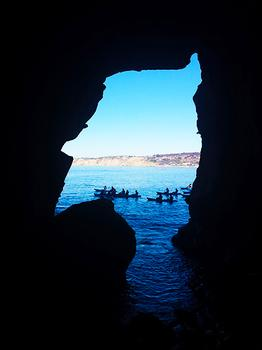 Sea Cave View of Kayakers