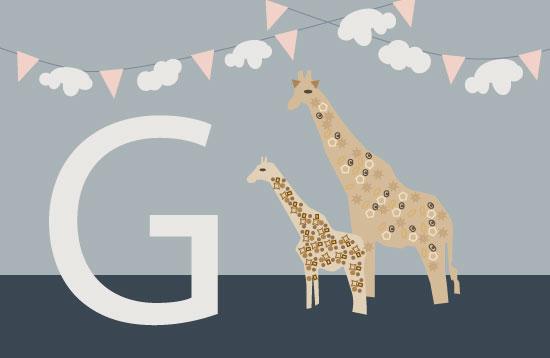 art prints - G is for Giraffe by Studio 1.8 Art and Design