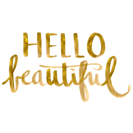 art prints - Hello Beautiful in Gold by Kathryn Cole