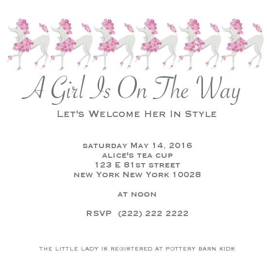 baby shower invitations - Prancing Poodle by Jane CoCo Cowles
