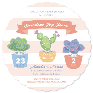 baby shower invitations - Succulent Bloom by Rhiannon Davenport