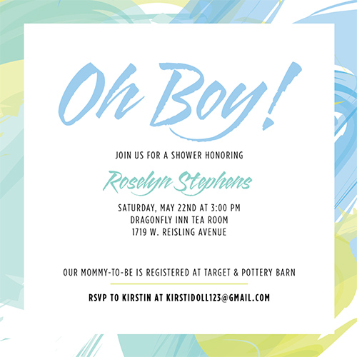 baby shower invitations - Abstract Oh Boy! by Katrina Marie
