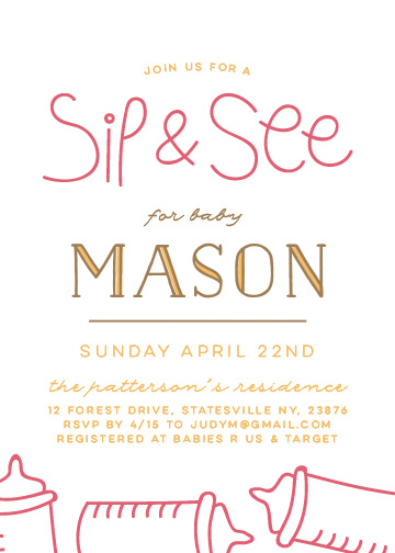 baby shower invitations - Sip & See Baby by Christina Novak