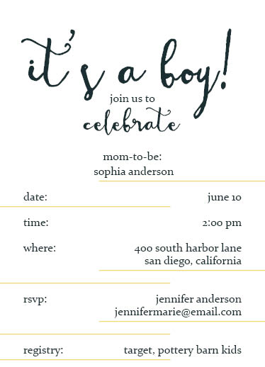 baby shower invitations - Simple Lines by Emily Jean